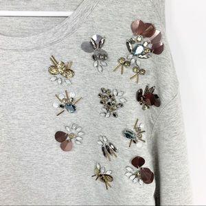 Halogen Scoop Neck Bead Embellished Sweater Med